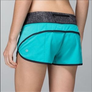 Teal Lululemon Speed Shorts with Black Trim-Size 8